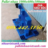 Pallet nhựa xanh 1000x600x100mm