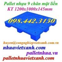 Pallet nhựa mặt liền 1200x1000x145mm PL09LS