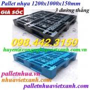 Pallet nhựa 1200x1000x150mm 3 đường thẳng