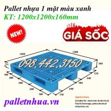 Pallet nhựa 1200x1200x160mm -xanh