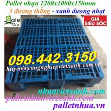 Pallet nhựa 1200x1000x150mm 3 đường thẳng - xanh dương nhạt
