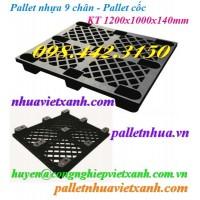 Pallet nhựa 9 chân 1200x1000x140mm màu đen
