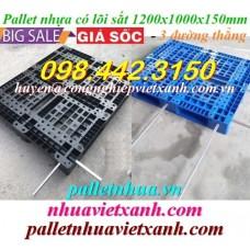 Pallet nhựa có lõi sắt 1200x1000x150mm 3 đường thẳng