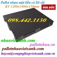Pallet nhựa mặt liền 1200x1000x150mm có lõi thép màu đen