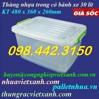 Thùng nhựa trong 30 lít có bánh xe TTBX30