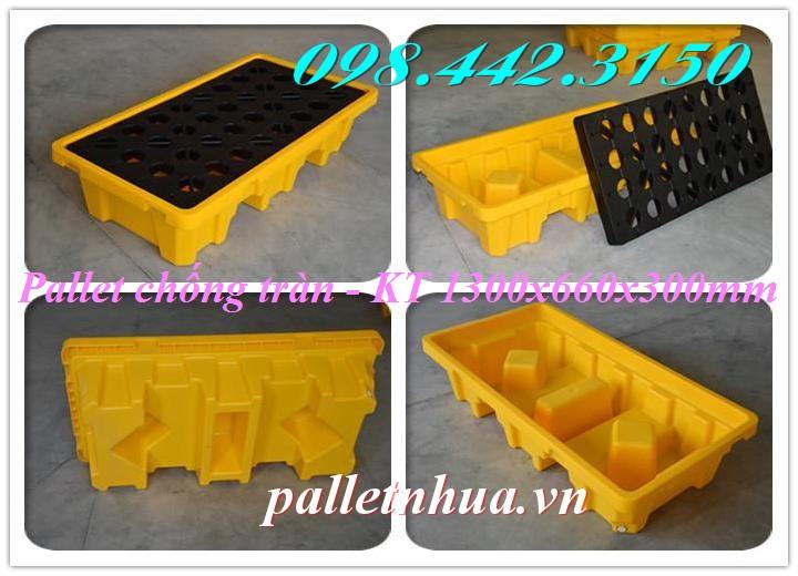 Pallet nhựa chống tràn dầu 2 phuy