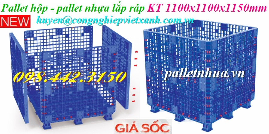 Pallet nhựa lắp ráp 1100x1100x1150mm
