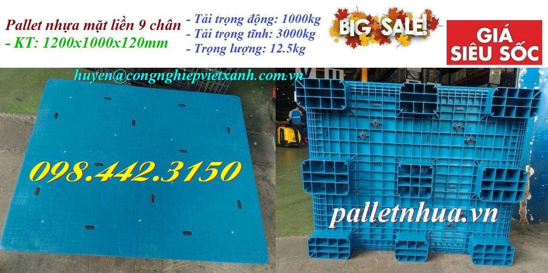 Pallet nhựa 1200x1000x120mm mặt liền