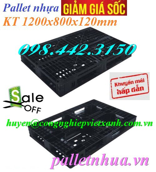 Pallet nhựa đen kt 1200x800x120mm